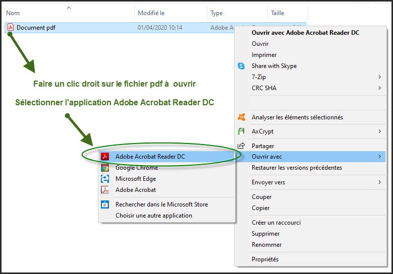 Sélectionner l'application Adobe Acrobat Reader DC